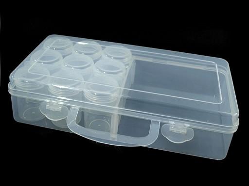 Plastový box / zásobník 13x26x6 cm s dózičkami