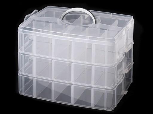 Plastový box / kufrík 3 poschodový s rukoväťou