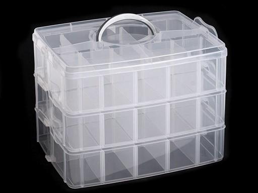 Pojemnik plastikowy / pudełko 18x24x16 cm piętrowy z rączką