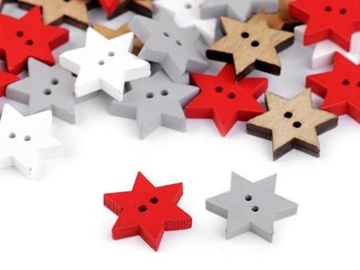 Guzik drewniany dekoracyjny gwiazda