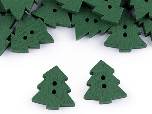 Dřevěný dekorační knoflík stromeček