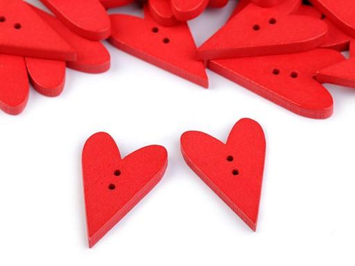 Dřevěný dekorační knoflík srdce