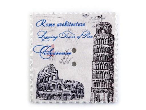 Dřevěný dekorační knoflík poštovní známka