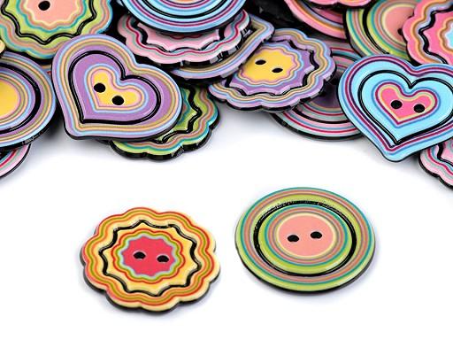 Knoflík duha - srdce, květ, kruh
