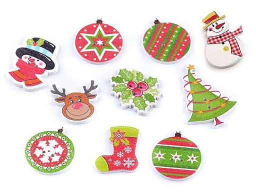 Dřevěný dekorační knoflík vánoční