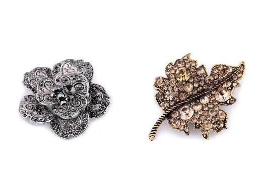 Brošňa kvet a list s brúsenými kamienkami