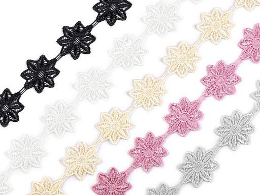 Vzdušná čipka / vsadka šírka 42 mm kvety
