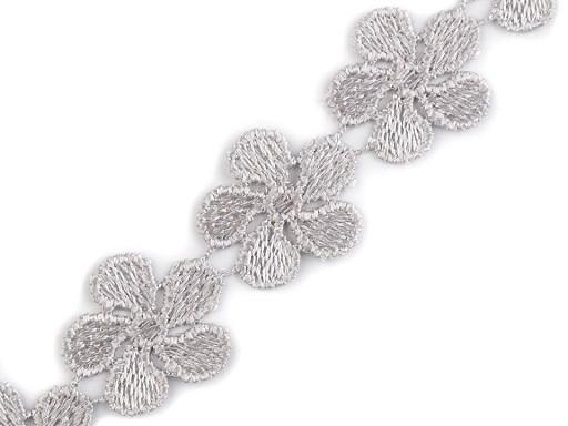 Vzdušná čipka / vsadka šírka 24 mm kvety