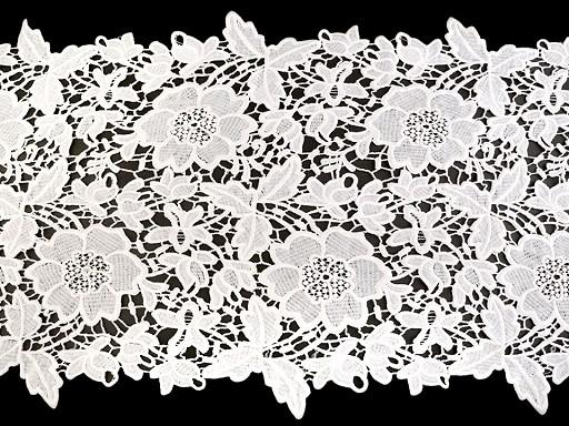 Bestickte Spitze / Tischläufer Breite 36 cm off white