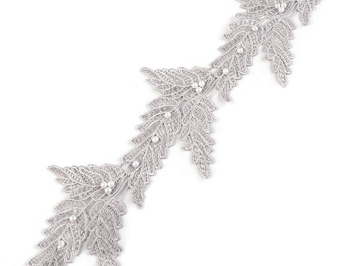 Vzdušná čipka / vsadka šírka 10 cm s perlami