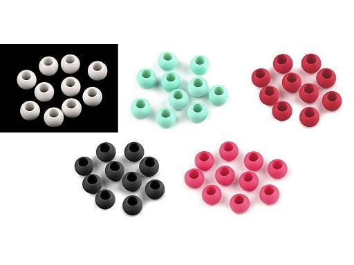 Plastové korálky s velkým průvlekem matné 10x12 mm