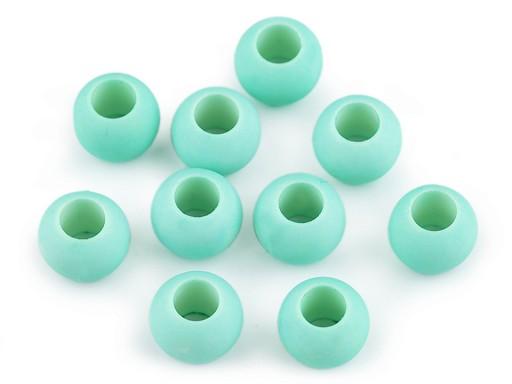 Plastové korálky s velkým průvlekem matné 11x14 mm