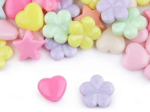Kunststoffperlen Stern, Herz, Blume 20 g