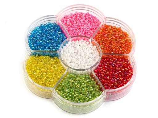 Roccailes Glasperlen in Kunststoffbox