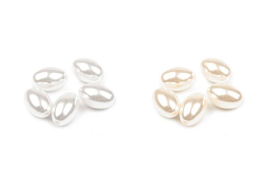 Plastové voskové korálky / perly Glance oliva 12x18 mm