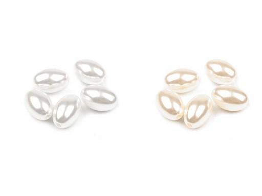 Plastové voskové koráliky / perly Glance oliva 12x18 mm