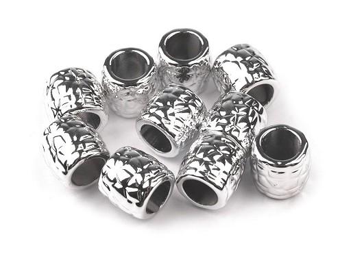 Plastové koráliky Metalic s veľkým prievlakom 9x9,5 mm