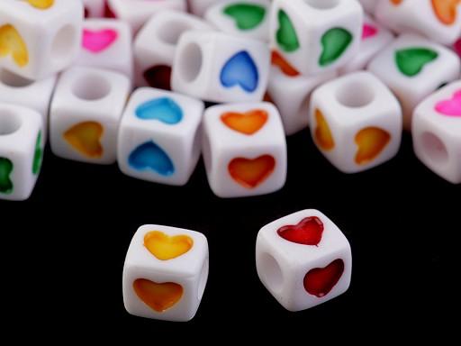 Mărgele din plastic cubice, 7 mm