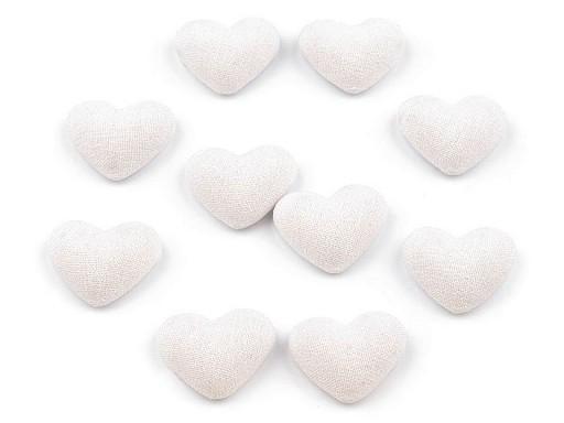 Látkové ozdoby srdce 15x18 mm k nalepení