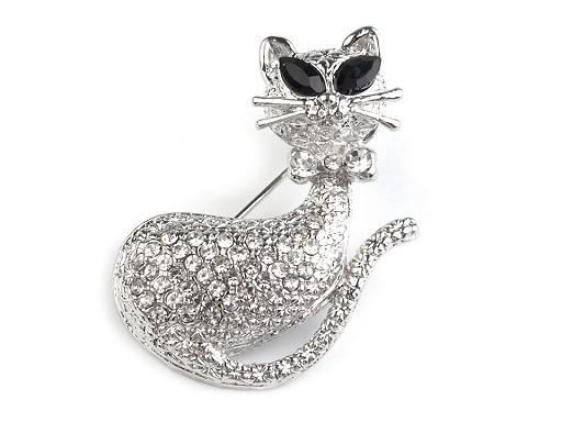 Broszka kotek z szklanymi kamyczkami