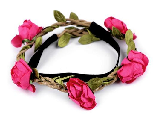 Opaska do włosów elastyczna z różami