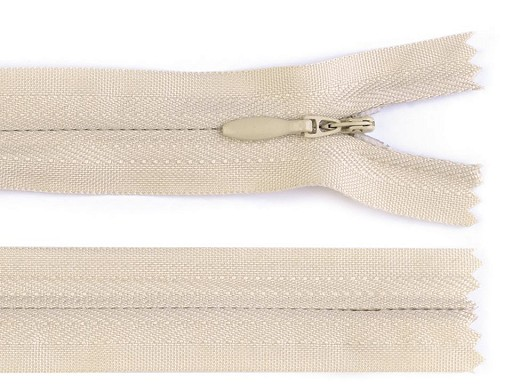 Spirálový zip skrytý šíře 3 mm délka 25 cm