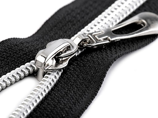 Špirálový zips so striebornými zúbkami šírka 7 mm dĺžka 70 cm
