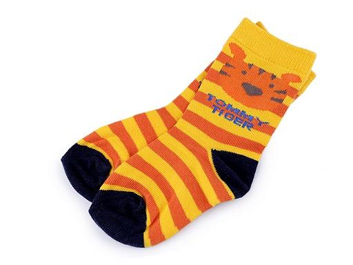 Dětské ponožky pruhované se zvířátky