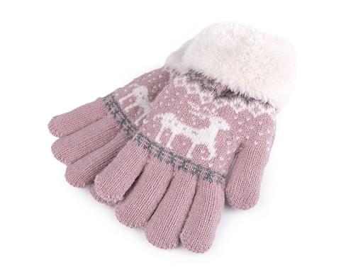 Dětské pletené rukavice s kožíškem, norský vzor