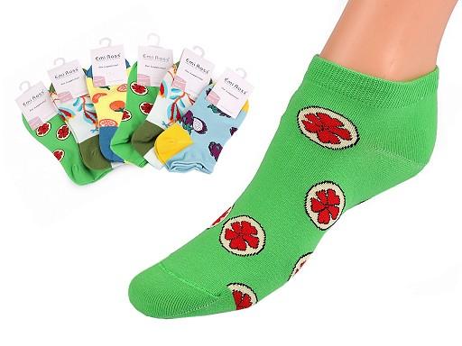 Dámské bavlněné ponožky kotníkové, obrázkové