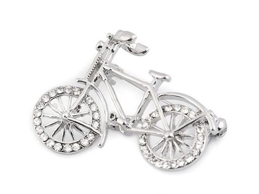 Brošňa s brúsenými kamienkami bicykel