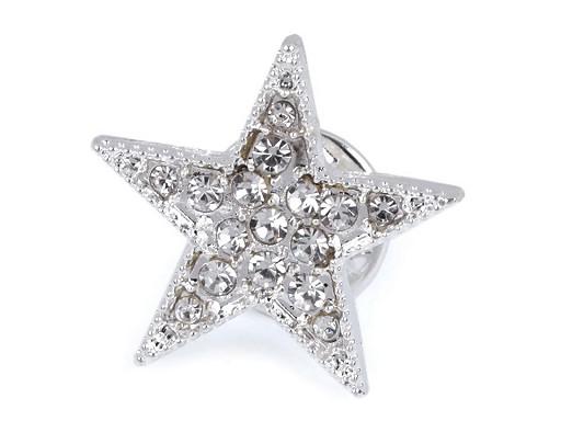 Brož / odznak s broušenými kamínky hvězda
