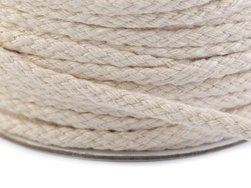 Odevná šnúra / bavlnená priadza / knot šírka  4 mm splietaná plochá