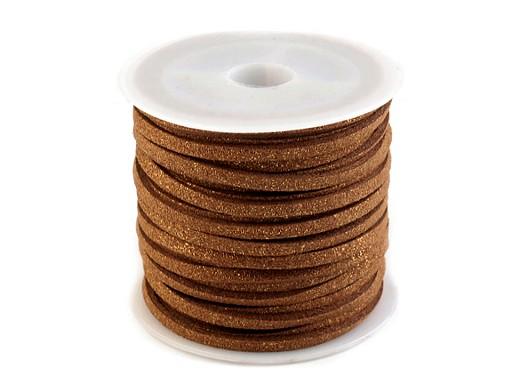 Řemínek imitace kůže metalický šíře 3 mm
