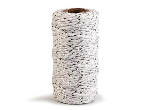 Bavlněná šňůra / provázek Ø1,5 mm s lurexem