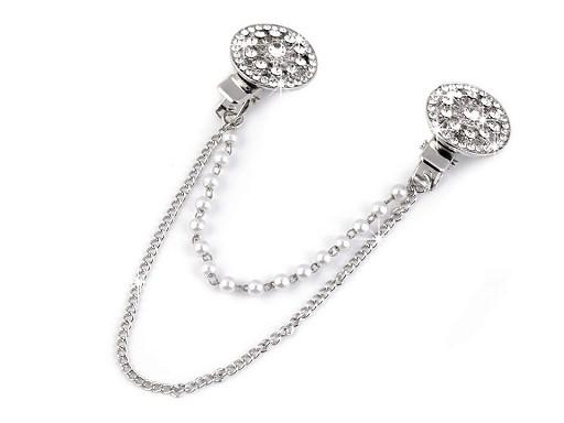 Spona dragoun s broušenými kamínky a perlami