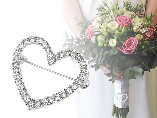 Brošňa s brúsenými kamienkami srdce, kvet