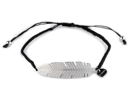 Náramek s pírkem, křídlem, srdcem z nerezové oceli