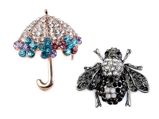 Brošňa s brúsenými kamienkami dáždnik, včela