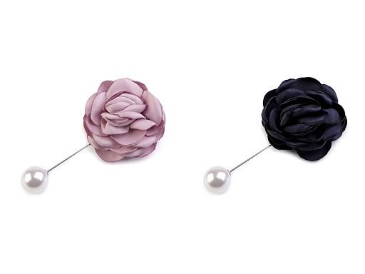 Broszka / przypinka do marynarki na szpilce ozdobnej róża i perełka