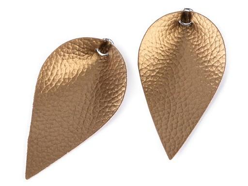 Polotovar list / kapka z eko kůže s kovovým kroužkem, metalický