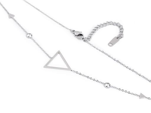 Náhrdelník trojúhelník z nerezové oceli s broušenými kamínky