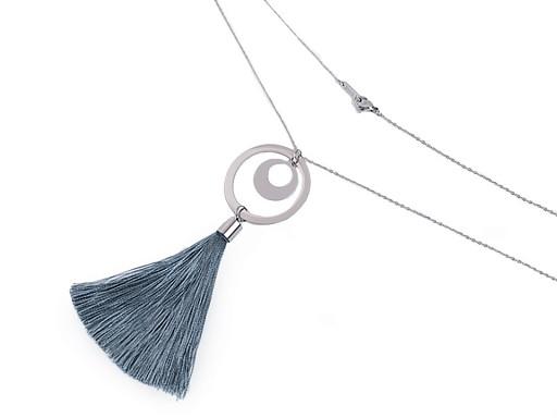 Dlouhý náhrdelník z nerezové oceli se střapcem