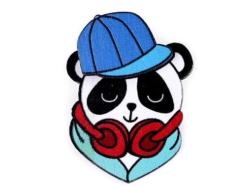 Dřevěná brož 3D panda, kočka, rys
