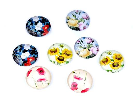 Skleněný kabošon květy, máky, slunečnice, růže Ø18 mm