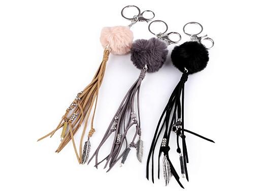 Přívěsek na kabelku / klíče bambulka, střapec, pírko