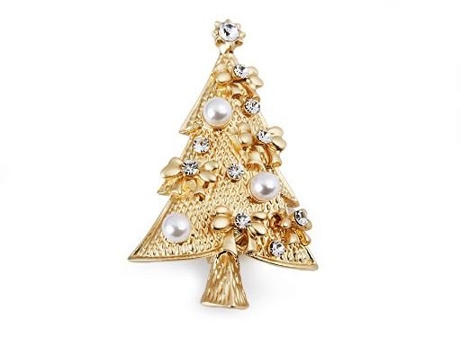 Brošňa vianočný stromček