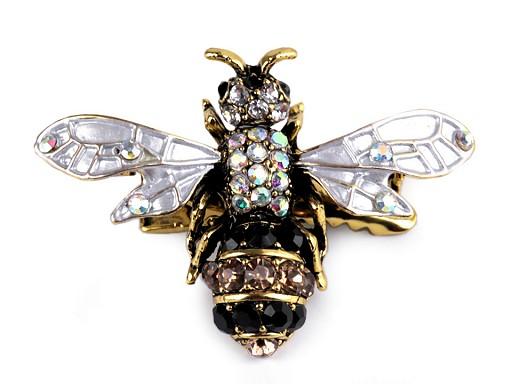Broszka z szlifowanymi kamyczkami pszczoła