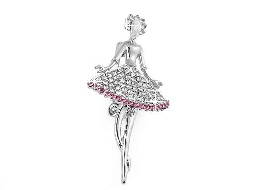 Brož s broušenými kamínky baletka