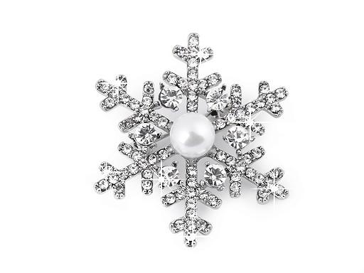 Brož s broušenými kamínky a perlou vločka